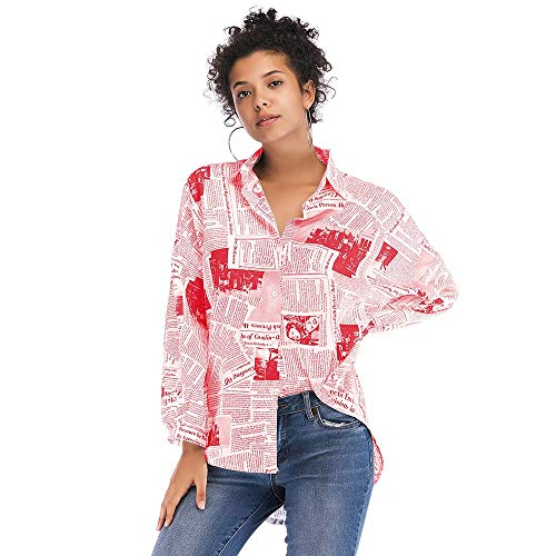 Leomodo Newspaper Letters Print Button-up Shirt Red