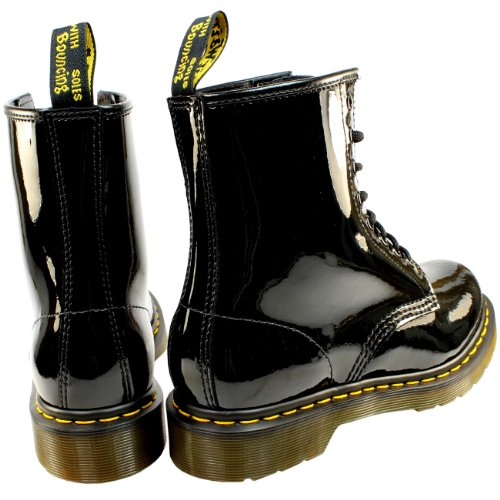 Womens Dr Martens 1460 W 8 Eyelet Patent Lamper Army Combat Lace Up Laars Zwart
