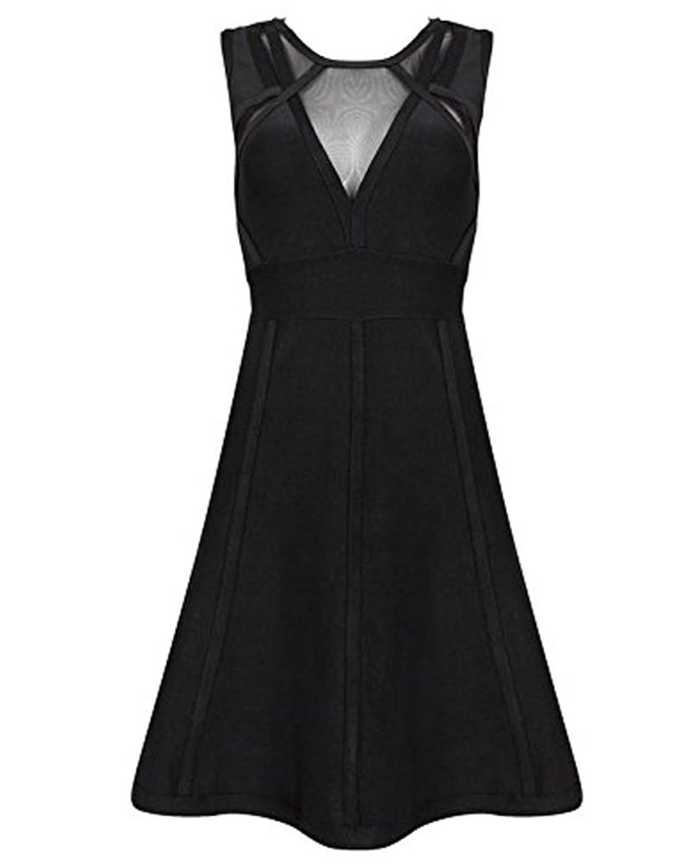 Whoinshop Frauen Schwarz Rayon A-Linie Abendkleid Minikleid PartyKleid