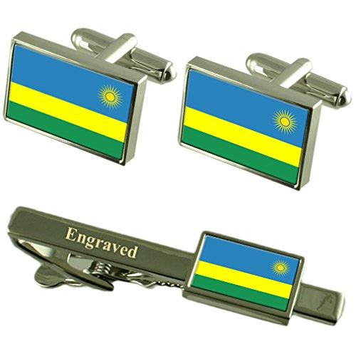 Boutons de manchette Drapeau Rwanda Cravate gravé Coffret Correspondance