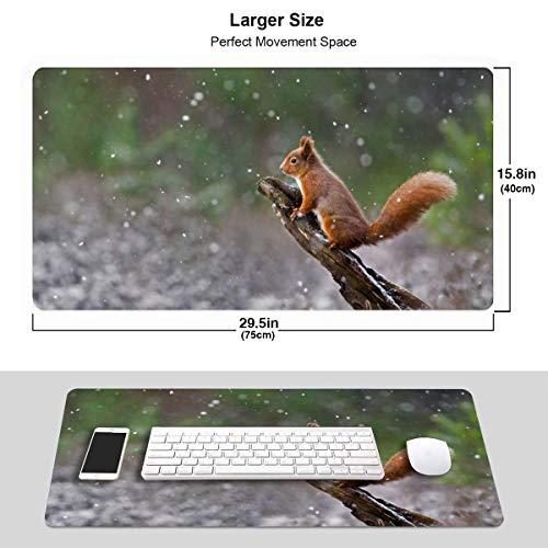 XCNGG Red Squirrel On A Branch Alfombrilla de raton extendida para juegos con bordes cosidos, alfombrilla de raton larga (29,5 x 15,7 pulgadas), alfombrilla de teclado para escritorio, base antidesliz