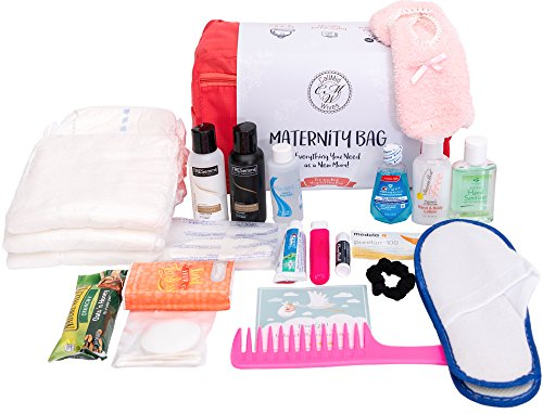 CallMidWives Maternity Hospital Bag for Labor and Delivery, Baby Shower Gift, Pre-Packed set of 20, Pink