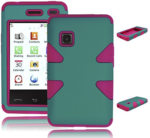 Bastex Heavy Duty Hybrid Case for LG 840G - Hot Pink Silicone Gel Cover with Teal Hard ()