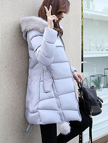 Womans Padded Lightweight Jacket Zipper Jacket Hooded Coat Warm Gray Puffer AFqvOrHA7w