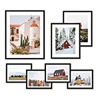WOOD MEETS COLOR Picture Frames Set, Wall Gallery Collage Frames with Hanging Template, Photo Mats (Set of 7)