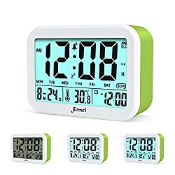 Digital Alarm Clock, Jiemei Talking Alarm Clocks for Kids and Adults, Battery Operated, 4.5'' Display, Smart Backlight, 3 Alarms, 7 Rings, Good Gift Choice ( Green )