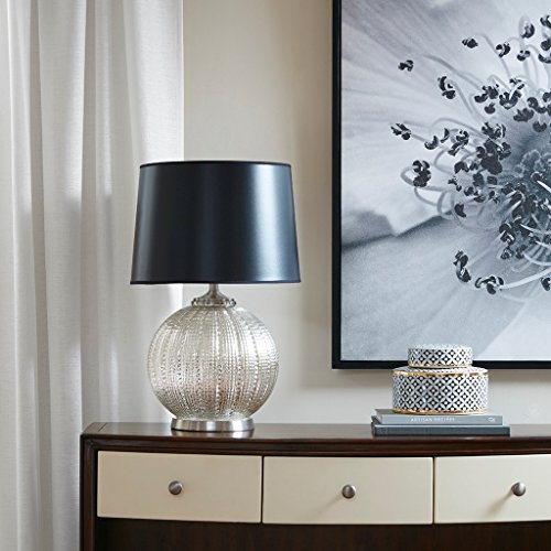 Modern Glass Table Lamp in Silver Finish with Deep Black Shade - Includes Modhaus Living - Silver Galleria City