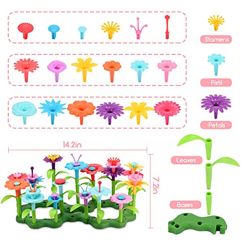 ATOPDREAM Flower Garden Building Kits, DIY Educational for Preschool Toys Gifts for 2 3 4 5 6 Year Old Girls Educational Toy Set for Kids Toys for 2-6 Year Old Girls(52 Pcs)