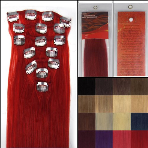 Silky 18 Inch Red Remy Clip In Human Hair Extensions_7 Pieces Set_Clips Women Beauty Style _70g Weight WIG FASHION INC