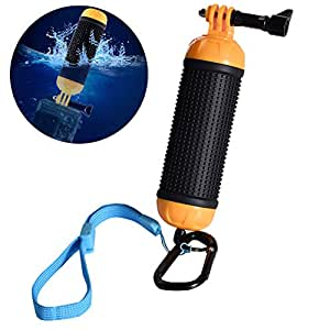 ALLCACA Waterproof Floating Hand Grip Buoyancy Stick Camera Handle Diving Stick with Lanyard and Metal Hook, Suitable for Gopro, Black and Yellow
