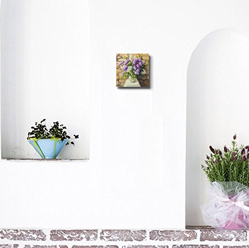 Beautiful Still Life with Blooming Lilacs in a Nice Glass Vase Over a Stone Tiled Wall Wall Decor