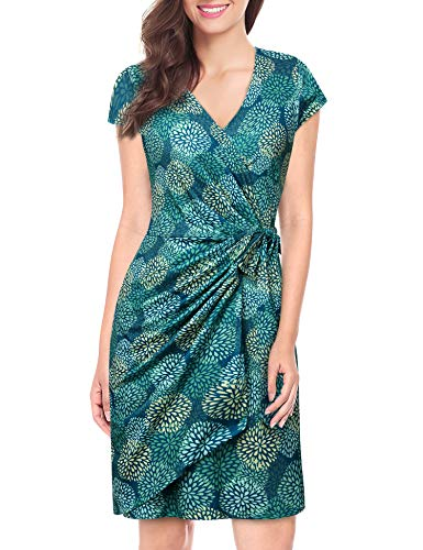 (Lotusmile Floral Print Dresses for Women, Ladies Semi Formal Occasion Dress Casual Soft Holiday Dress Petite Fit and Flare Elegant Cap Sleeve V Neck Pleated Wrap Dress with Belt,Multicolor Green M)