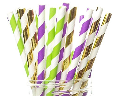 Mardi Gras Straws, New Orleans Mardi Gras Party Supplies (25 Pack) - Purple, Green & Gold Louisiana Celebration Party Straws, Carnival of Venice Fat Tuesday Party Supplies ()