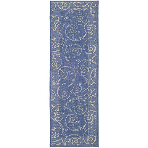 Courtyard Collection ZY2665-3103 Blue and Natural Indoor/Outdoor Runner (2'3