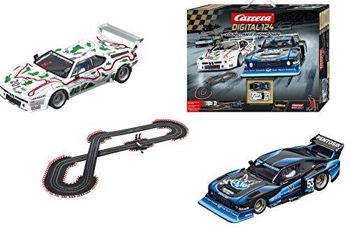 (Carrera 20023626 Digital 124 Young Timer Showdown Slot Car Racing System Set - Includes Ford Capri Zakspeed Turbo & BMW M1 Procar, & 2 Wireless 2.4 Ghz Controllers, Multicolor)