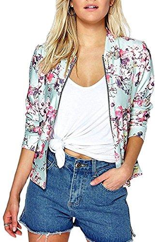 Minetom Donna Moda Fiore Colorato Stampato Morbido Con Chiusura a Zip Bomber Crop Biker Cappotto Felpa Tops Giacca Blazer Pink