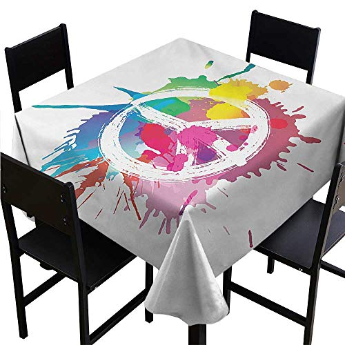 - Glifporia Tablecovers Square Groovy,Famous Widely Used Peace Logo with Colorful Splash Grunge Style Pacifism Themed,Multicolor,W36 x L36 for Spring