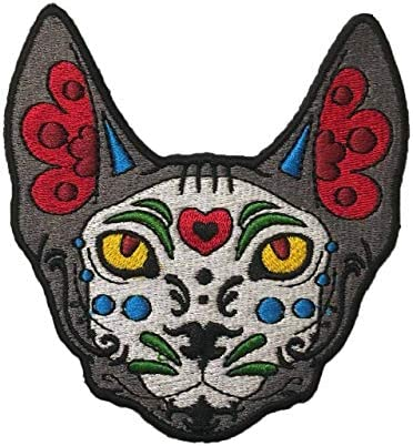 Día de Los Muertos Sugar Skull Sphynx Cat Sew-On Embroidery Patch - 3.5x3.25 inches 7