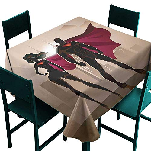 Warm Family Superhero Wrinkle Resistant Tablecloth Super Woman and Man Heroes in City Solving Crime Hot Couple in Costume Indoor Outdoor Camping Picnic W70 x L70 Beige Brown -