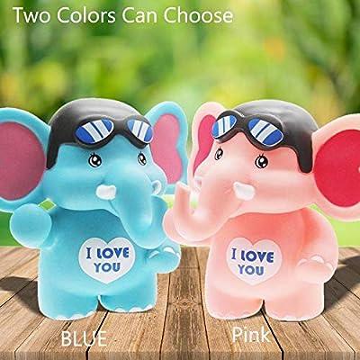 H&W Cartoon Travel Elephant Coin Bank, Anti-Broken Money Box, Piggy Bank, Best Gift Kids, Boys, Blue (WK8-D2): Toys & Games