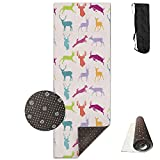 KJDHAPI2 Dancing, Running, Walking, Standing Silhouettes Single Side Print Yoga Mat With Carrying Strap For Fitness,Travel And Yoga Class