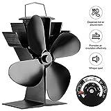 4-Blade Heat Powered Log Burner & Stove Fan for Wood Log / Coal Burner / Wood Stoves Black