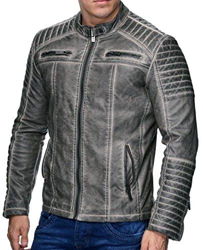 Redbridge Giacca Da Uomo, Stile Biker, In Pelle Vera E Cotone Con Elementi Trapuntati Grigio