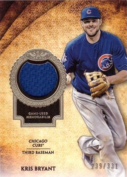 2017 Topps Tier One Relics #T1R-KB Kris Bryant Game Worn Jersey Baseball Card - Blue Jersey Swatch - Only 331 made!