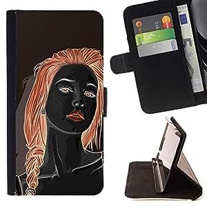Momo Phone Case / Flip Funda de Cuero Case Cover - Redhead Chica Negro rojo de los labios de la mujer - Apple Iphone 4 / 4S