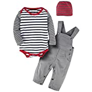 YIJIUJIU Toddler 3 Pcs Baby Boys Striped Bodysuit Romper Long Sleeve+Bib Pants Set With Hat Overalls Outfits 6-12 Months
