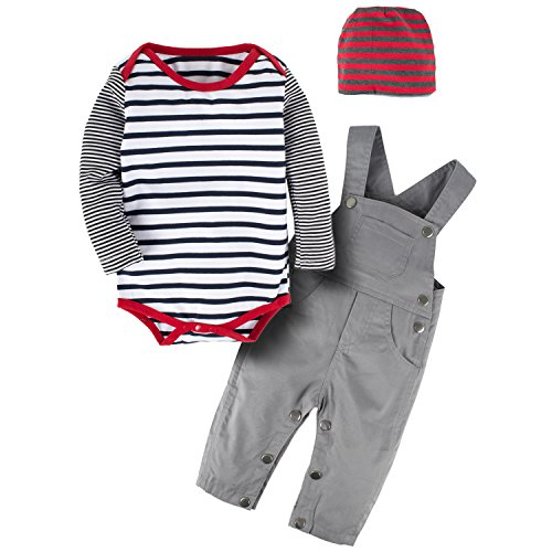 Infant Boys 1 Pc Outfit - YIJIUJIU Toddler 3 Pcs Baby Boys Striped Bodysuit Romper Long Sleeve+Bib Pants Set With Hat Overalls Outfits 6-12 Months