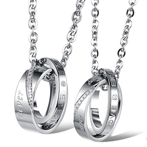 [Dixivi Jewelry a Pair Valentine Couple Stainless Steel Double Ring Engraved Promise Necklace Sets] (Matching His And Her Costumes)