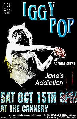 Iggy Pop - Jane's Addiction - The Cannery - 1988 - Concert Poster Magnet
