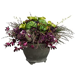 "14""Hx21""Wx21""L Allium/Lily/ Oncidium Orchid in Round Resin Pot Purple Green 15"