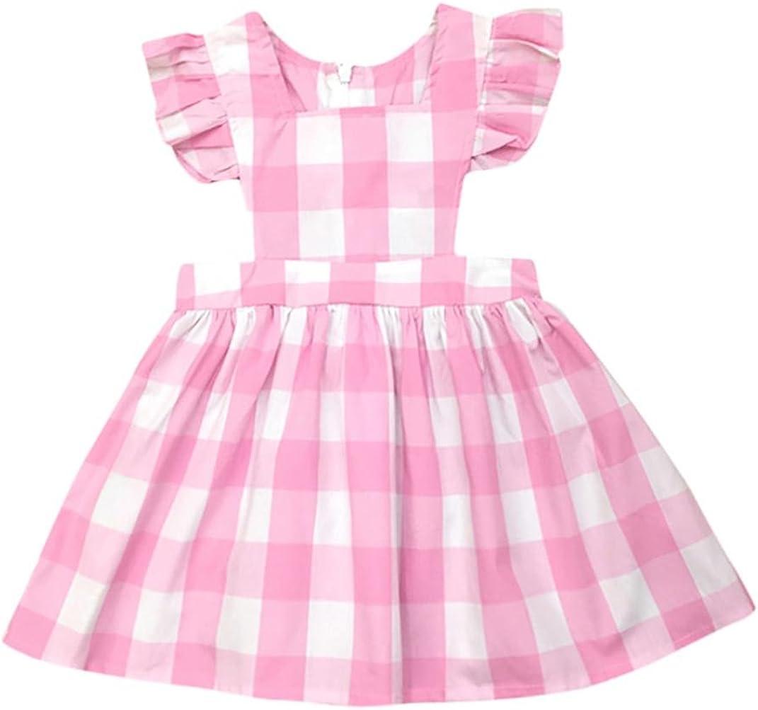 PENATE Baby Girl Classic Plaid Dress Summer Sleeveless Soft Cotton School Skirt