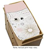Sweet Jojo Designs Blush Pink, Gold, Grey and White Star and Moon Changing Pad Cover for Celestial Collection by