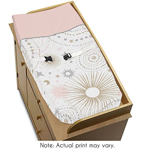 - Blush Pink, Gold, Grey and White Star and Moon Changing Pad Cover for Celestial Collection by Sweet Jojo Designs