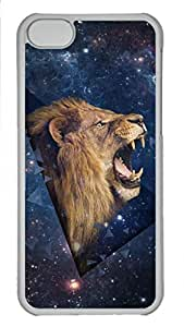 Shell Case for iphone 5C with Outer Space Shouting Lion PC Transparent Hard Skin Case for iphone 5C