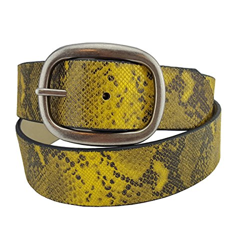 Leather Belt in Colorful Python Print with Silver Buckle