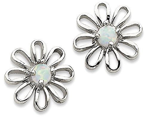 ICE CARATS 925 Sterling Silver Created Opal Daisy Post Stud Ball Button Earrings Fine Jewelry Gift Set For Women Heart