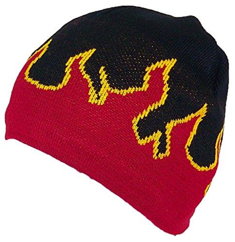 Mega Cap Adult Flames Design Beanie Skull Cap W/Fleece Lining - Black/Red