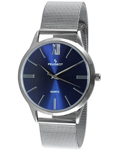 - Peugeot Men's Silver Slim Case Stainless Steel Mesh Blue Face Roman Numeral Dial Dress Watch 1052SBL