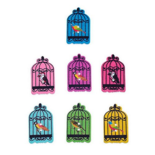 Souarts Mixed Color Birdcage Pattern Printed 2 Holes Wood Wooden Button Pack of ()