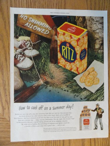 - Nabisco National Biscuit Company, Authentic 1945 Color Illustration,print ad (swimming hole)Original Vintage 1945 The Saturday Evening Post Magazine Print Ad.