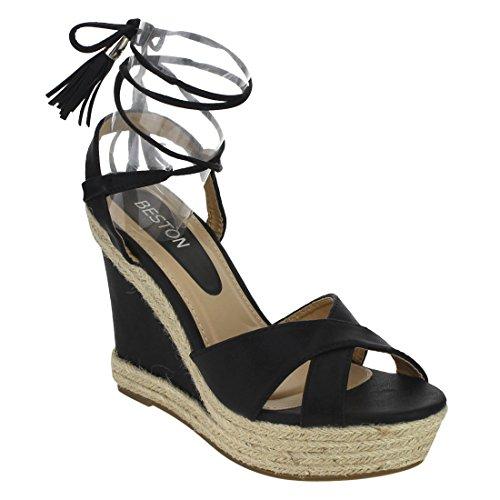 BESTON ID87 Women's Criss Cross Strap Tassel Lace Up Espadrille Wedge Sandal, Color:Black, Size:8
