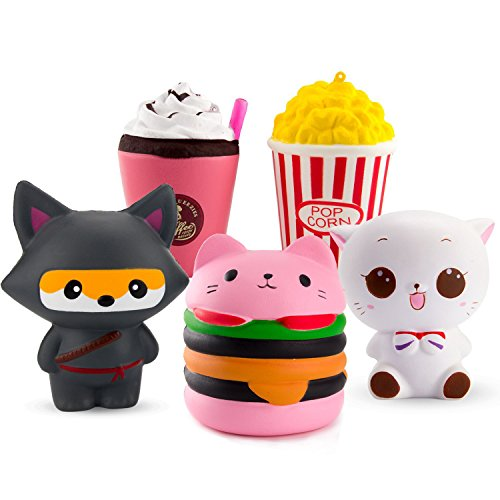 WATINC 5 Pcs Cute Animal&Food squishy Sweet Scented Vent Charms Slow Rising squishies Kawaii Kid Toy, Lovely Stress Relief Toy, Animals Gift Fun Large(WT-5P Ninja fox set) by WATINC