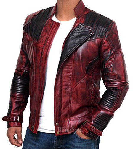 BlingSoul Star-lord Jacket Men Outerwear - Guardians Galaxy Jacket Prop (L, Red Black Waxed)