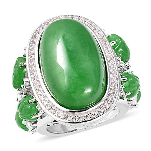 - Cocktail Ring 925 Sterling Silver Green Jade White Topaz Jewelry for Women Size 7