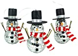 Christmas Concepts Pack of 3 14cm Mirror Snowman with Twig Arms Hanging Christmas Tree Baubles - Christmas Decorations