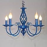 LightInTheBox Vintage Retro 5-Light Chandelier Candle Light Lamp for Hallway,Bedroom,Kitchen,Kids Room,5X45W LED Bulb (Blue)